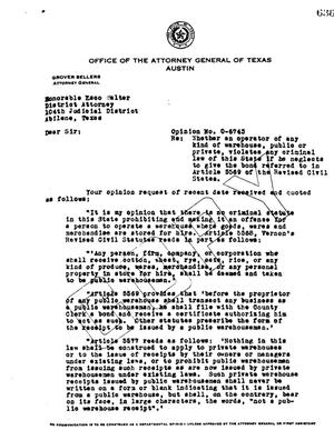Primary view of object titled 'Texas Attorney General Opinion: O-6743'.