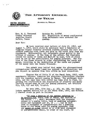 Primary view of object titled 'Texas Attorney General Opinion: O-6748'.