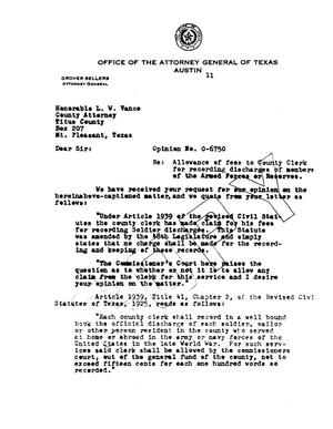 Primary view of object titled 'Texas Attorney General Opinion: O-6750'.