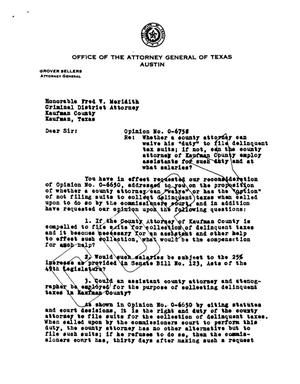 Primary view of object titled 'Texas Attorney General Opinion: O-6758'.