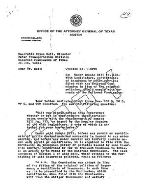 Primary view of object titled 'Texas Attorney General Opinion: O-6770'.