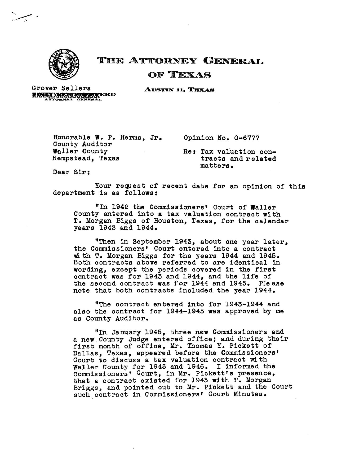 Texas Attorney General Opinion: O-6777 - Page 1 of 4 - The