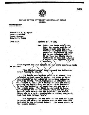Primary view of object titled 'Texas Attorney General Opinion: O-6784'.