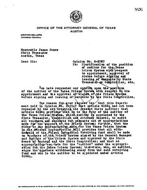 Primary view of object titled 'Texas Attorney General Opinion: O-6787'.
