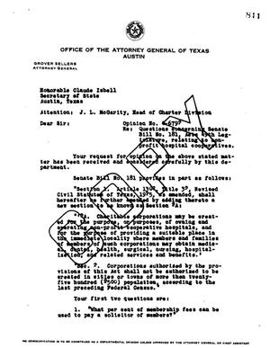 Primary view of object titled 'Texas Attorney General Opinion: O-6792'.