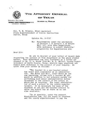 Primary view of object titled 'Texas Attorney General Opinion: O-6797'.