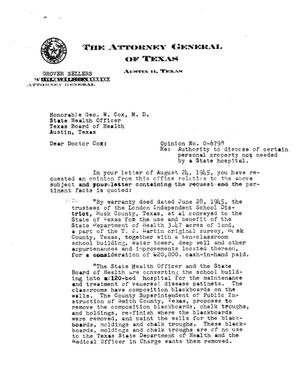 Primary view of object titled 'Texas Attorney General Opinion: O-6798'.