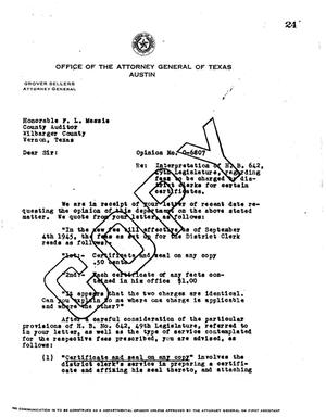 Primary view of object titled 'Texas Attorney General Opinion: O-6807'.