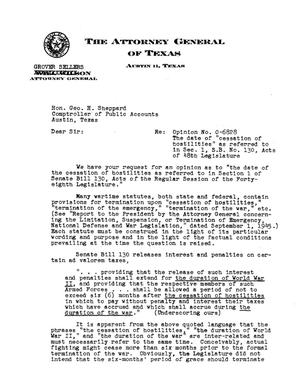 Primary view of object titled 'Texas Attorney General Opinion: O-6828'.