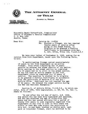 Primary view of object titled 'Texas Attorney General Opinion: O-6835'.