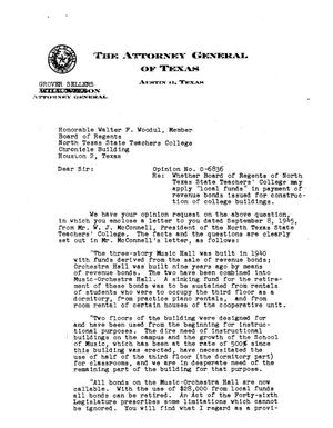 Primary view of object titled 'Texas Attorney General Opinion: O-6836'.