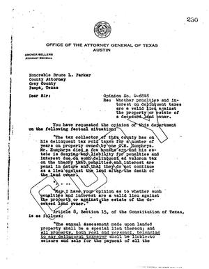 Primary view of object titled 'Texas Attorney General Opinion: O-6848'.
