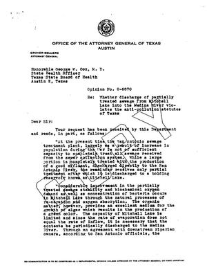 Primary view of object titled 'Texas Attorney General Opinion: O-6870'.