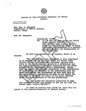 Primary view of object titled 'Texas Attorney General Opinion: O-6871'.