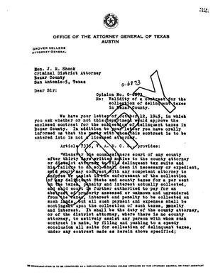 Primary view of object titled 'Texas Attorney General Opinion: O-6873'.