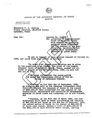 Primary view of object titled 'Texas Attorney General Opinion: O-6875'.
