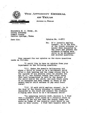 Primary view of object titled 'Texas Attorney General Opinion: O-6877'.