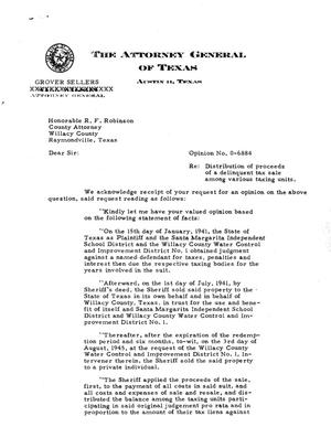 Primary view of object titled 'Texas Attorney General Opinion: O-6884'.