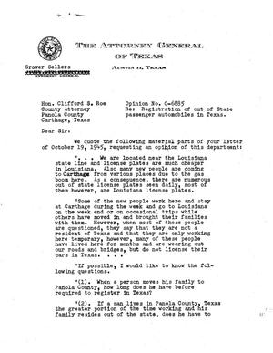 Primary view of object titled 'Texas Attorney General Opinion: O-6885'.