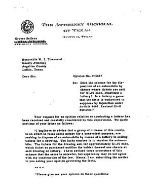 Primary view of object titled 'Texas Attorney General Opinion: O-6887'.