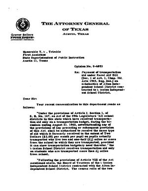 Primary view of object titled 'Texas Attorney General Opinion: O-6893'.