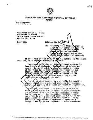 Primary view of object titled 'Texas Attorney General Opinion: O-6898'.