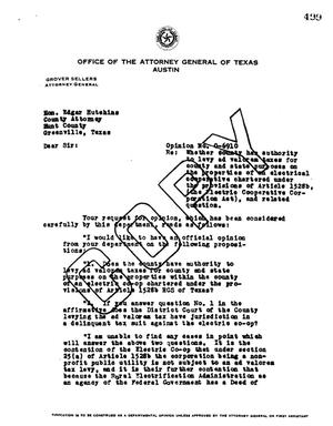 Primary view of object titled 'Texas Attorney General Opinion: O-6910'.