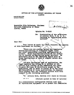 Primary view of object titled 'Texas Attorney General Opinion: O-6916'.