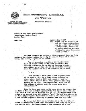 Primary view of object titled 'Texas Attorney General Opinion: O-6917'.