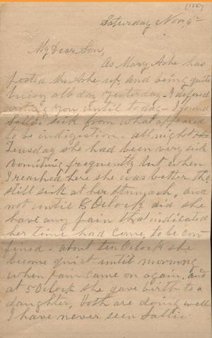 Primary view of object titled 'Letter to Cromwell Anson Jones, 6 November [1880]'.