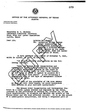 Primary view of object titled 'Texas Attorney General Opinion: O-6926'.