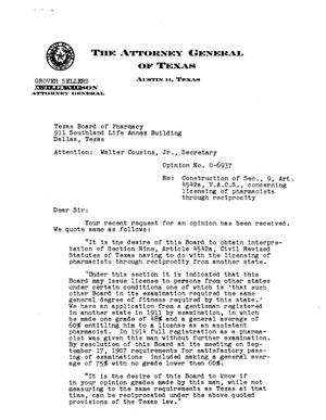 Primary view of object titled 'Texas Attorney General Opinion: O-6937'.