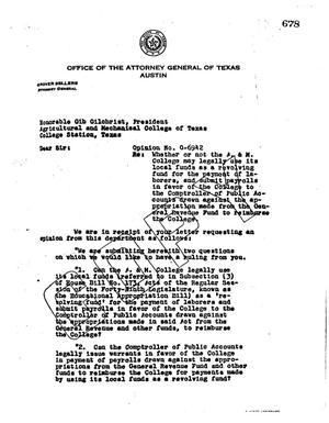 Primary view of object titled 'Texas Attorney General Opinion: O-6942'.