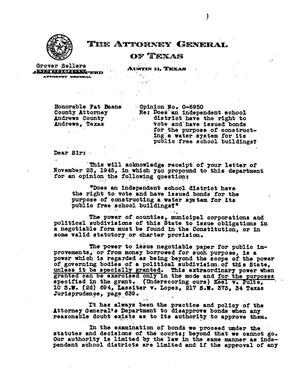 Primary view of object titled 'Texas Attorney General Opinion: O-6950'.