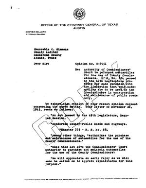 Primary view of object titled 'Texas Attorney General Opinion: O-6951'.