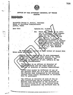 Primary view of object titled 'Texas Attorney General Opinion: O-6956'.