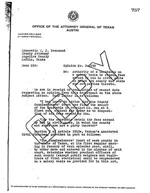Primary view of object titled 'Texas Attorney General Opinion: O-6959'.