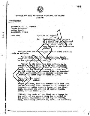Primary view of object titled 'Texas Attorney General Opinion: O-6961'.