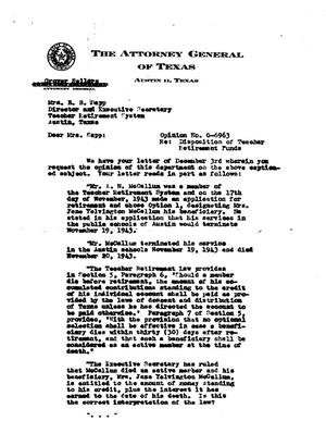 Primary view of object titled 'Texas Attorney General Opinion: O-6963'.