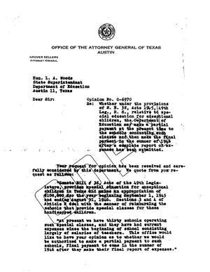 Primary view of object titled 'Texas Attorney General Opinion: O-6970'.