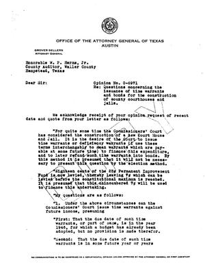 Primary view of object titled 'Texas Attorney General Opinion: O-6971'.