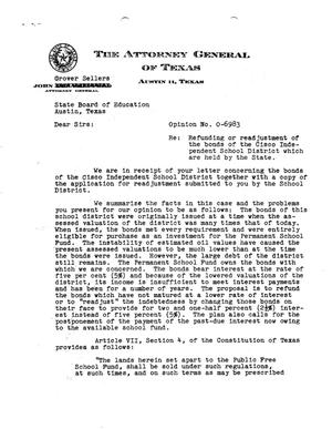 Primary view of object titled 'Texas Attorney General Opinion: O-6983'.