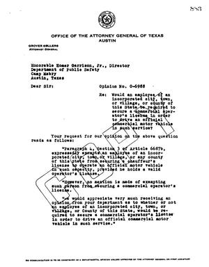 Primary view of object titled 'Texas Attorney General Opinion: O-6988'.
