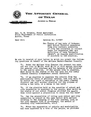 Primary view of object titled 'Texas Attorney General Opinion: O-7097'.