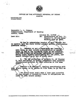 Primary view of object titled 'Texas Attorney General Opinion: O-7098'.