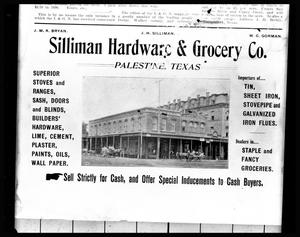 Primary view of object titled '[Ad for Silliman Hardware & Grocery Co.]'.