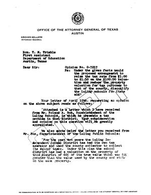 Primary view of object titled 'Texas Attorney General Opinion: O-7217'.