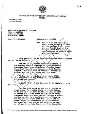 Primary view of object titled 'Texas Attorney General Opinion: O-7231'.
