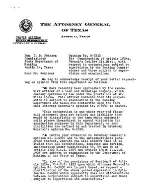 Primary view of object titled 'Texas Attorney General Opinion: O-7232'.