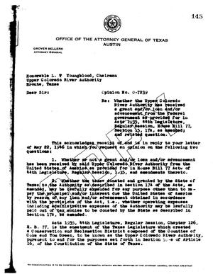Primary view of object titled 'Texas Attorney General Opinion: O-7239'.